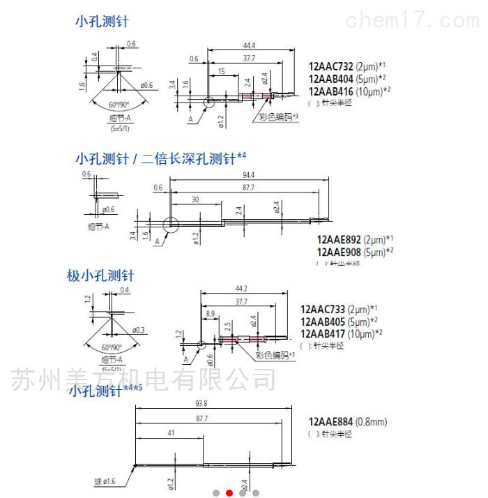178-296三丰12AAB405粗糙度仪测针 用于SJ-400