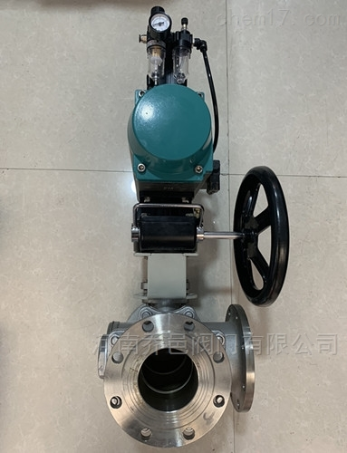 Q644F气动带手动L型三通球阀 气动带手动碳钢三通球阀