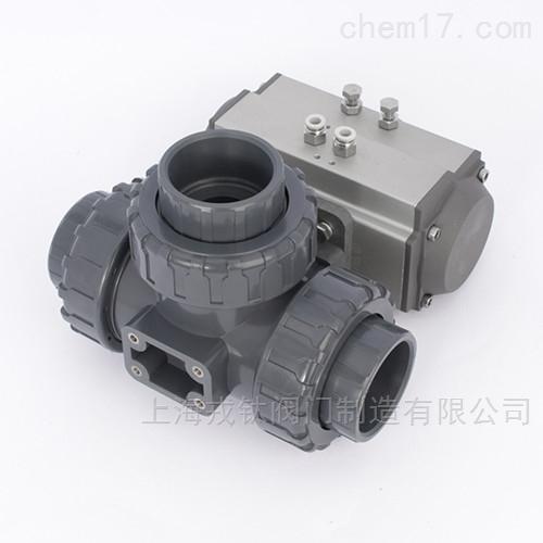 Q625F气动塑料三通球阀