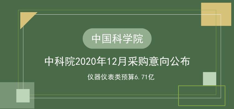 中国科学院2020年12月采购意向公布 必威客户端仪表类预算6.71亿